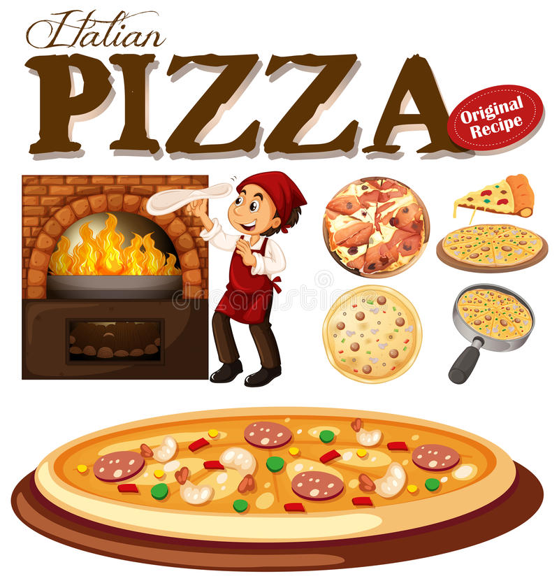Download Kockdanandepizza i ugnen vektor illustrationer. Illustration av illustration - 78732314