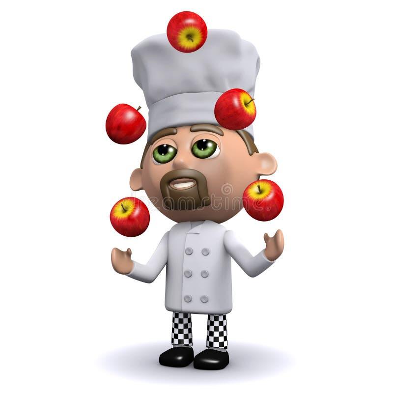 kocken 3d jonglerar röda äpplen stock illustrationer