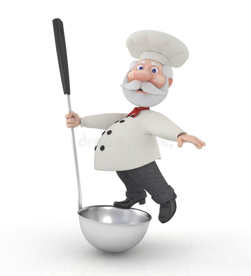 Kocken 3D med en slev. royaltyfri illustrationer