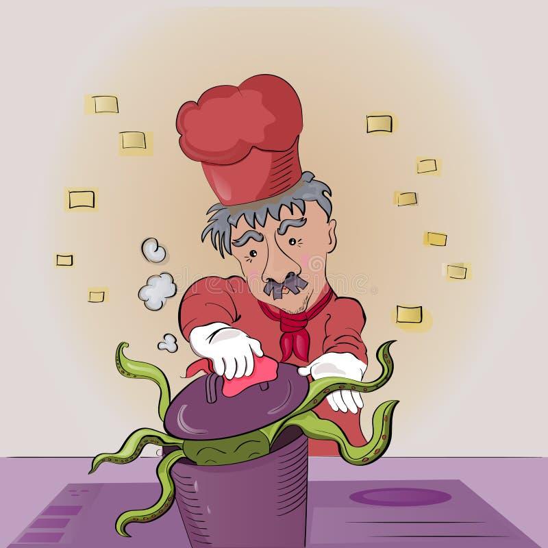 Kocken förbereder lunch En maträtt av bläckfisken royaltyfri illustrationer