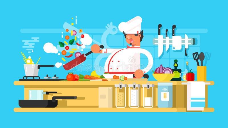 Kocken förbereder sig i kök vektor illustrationer