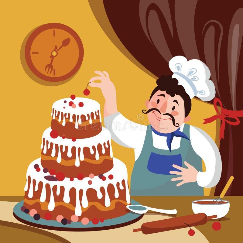 Kocken gör kakan i pannan Tecknad filmbagare med en stor kaka Fet tecknad filmkockVector illustration vektor illustrationer