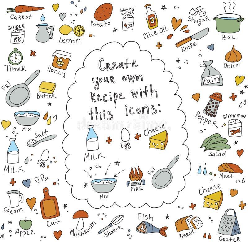 Kocken isolerade objektmat för recept royaltyfri illustrationer
