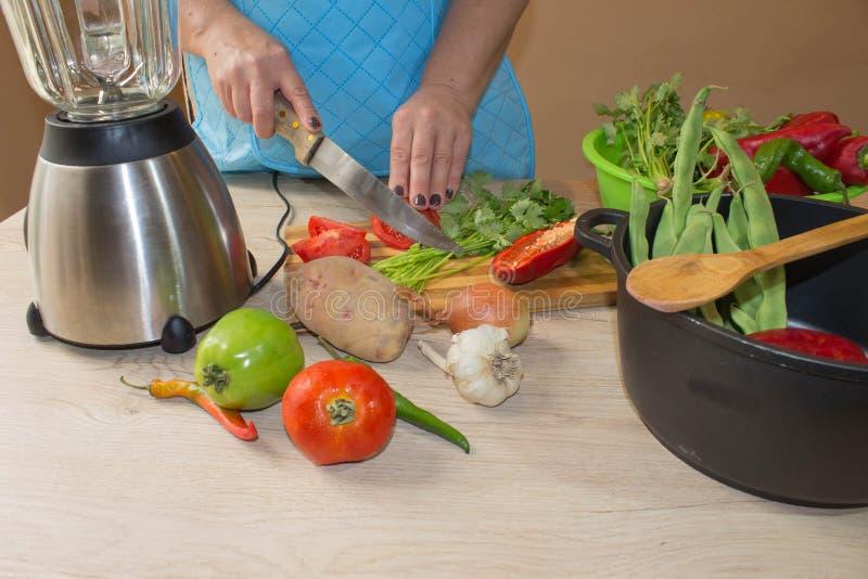 Kocken klipper grönsakerna in i ett mål En kvinna använder en kniv och kockar Matlagning för ung kvinna i köket hemmafru som skiv royaltyfria bilder