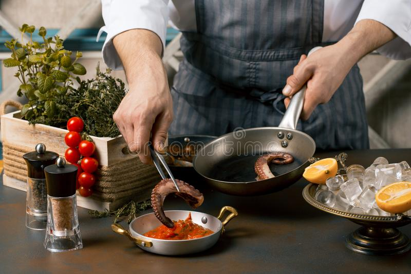 Kocken lagar mat räknearkbläckfisktentakel Kocken lägger bläckfisken på tomatsås Gourmet- restaurang royaltyfri fotografi