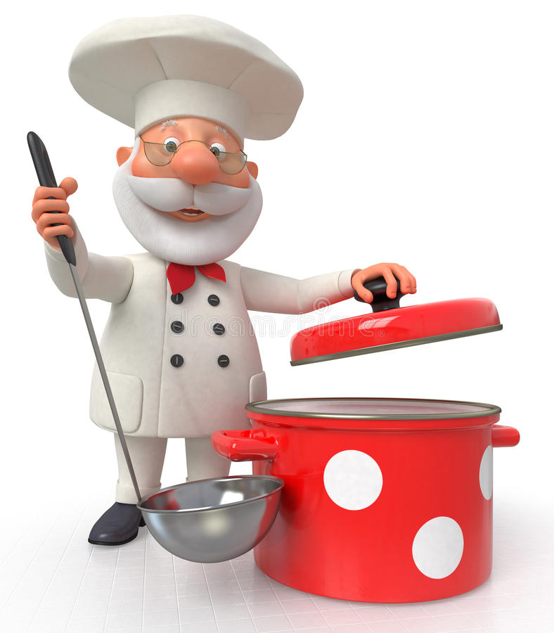 Kocken med en panna och en slev royaltyfri illustrationer