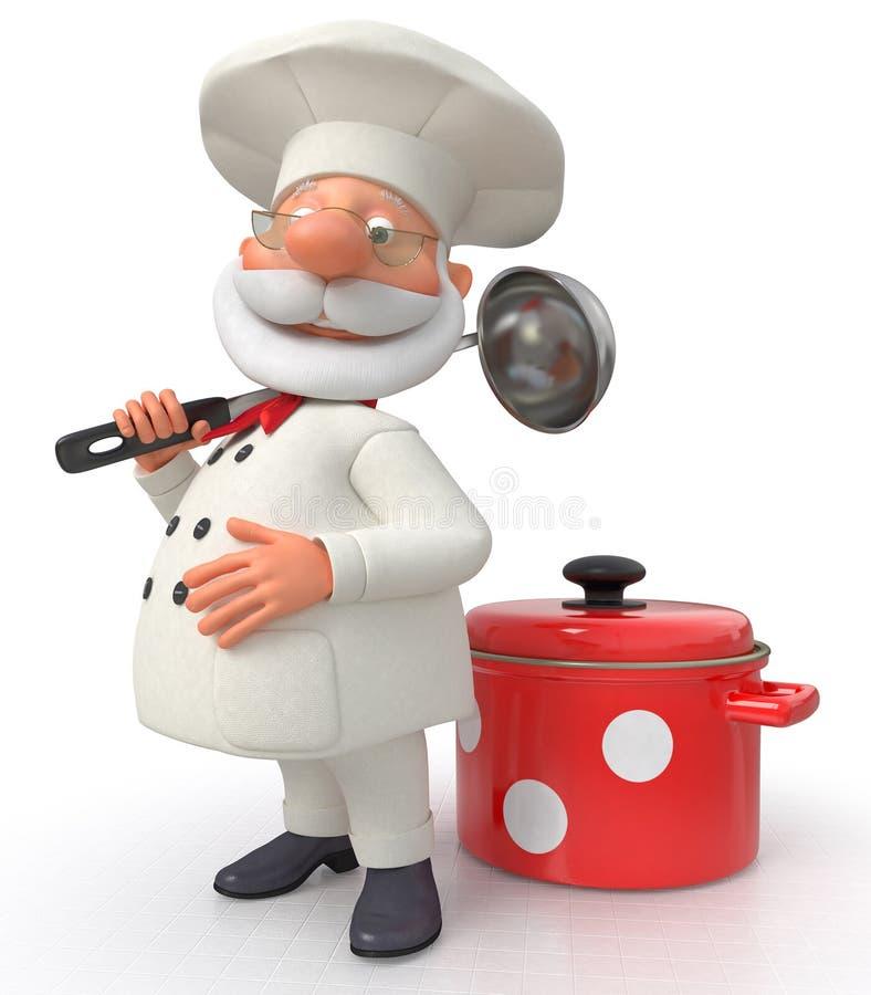 Kocken med en panna och en slev stock illustrationer