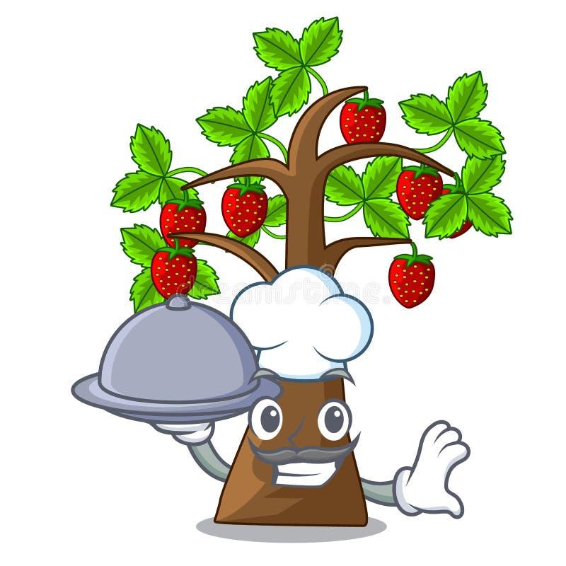 Kocken med träd för mattecknad filmjordgubben växer på jord royaltyfri illustrationer