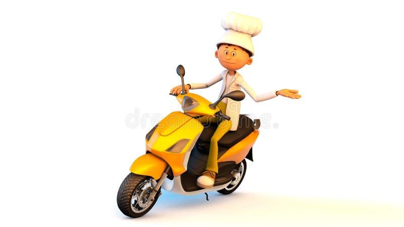 Kocken på en motorcykel royaltyfri illustrationer