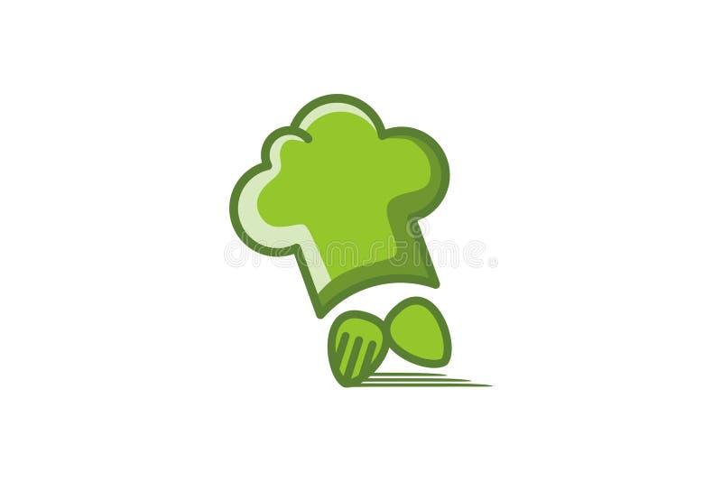 kockhatt, sked och snabb leveranslogo för gaffel royaltyfri illustrationer