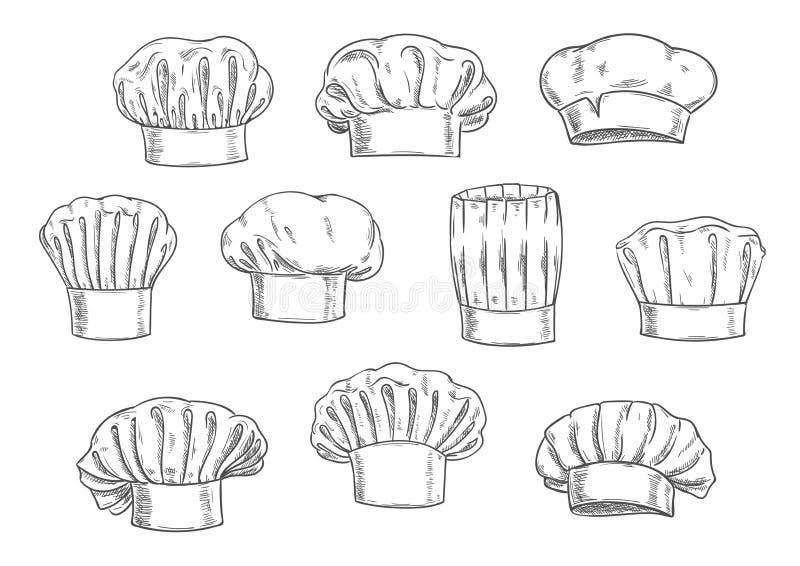 Kockhatten, kocklocket och toquen skissar vektor illustrationer