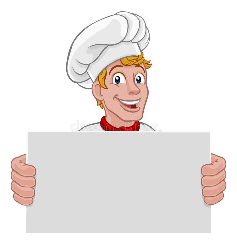 Kockkock Baker Sign Cartoon stock illustrationer