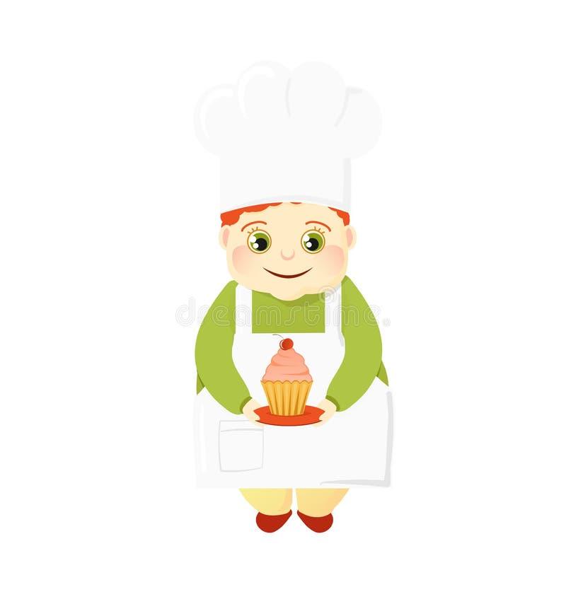 Kockkonditor i enhetligt innehav en kaka Matlagningsötsaker Efterrättrecept Gullig fet kock i en kockhatt vektor illustrationer