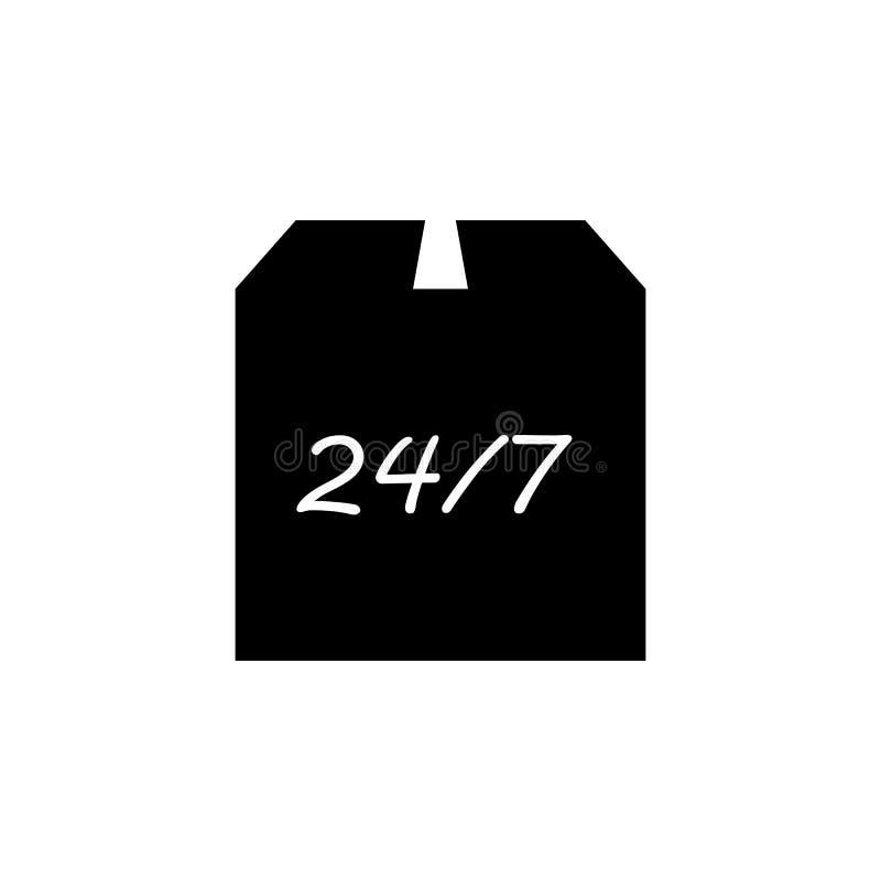 kocowania pudełko i 24/7 ikon Element logistyki ikona Premii ilości graficznego projekta ikona Znaki i symbol inkasowa ikona dla  royalty ilustracja
