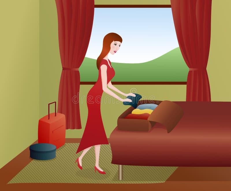 kocowania walizek kobieta ilustracji