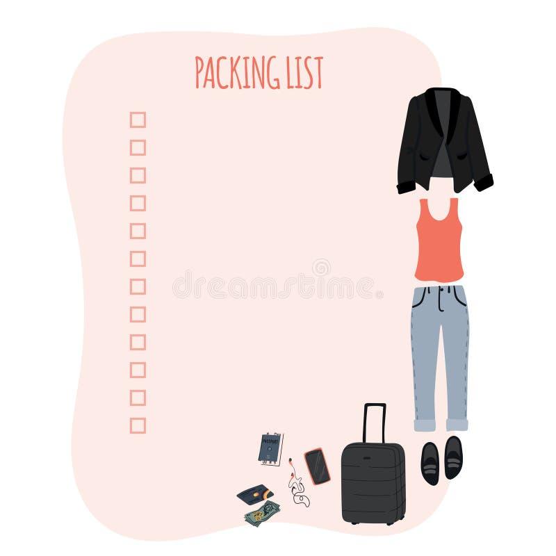 Kocowanie listy szablon dla podróży, turystyki i wakacji z ręka rysującą kobietą, odziewa Kresk?wki mieszkania ilustracja ilustracja wektor