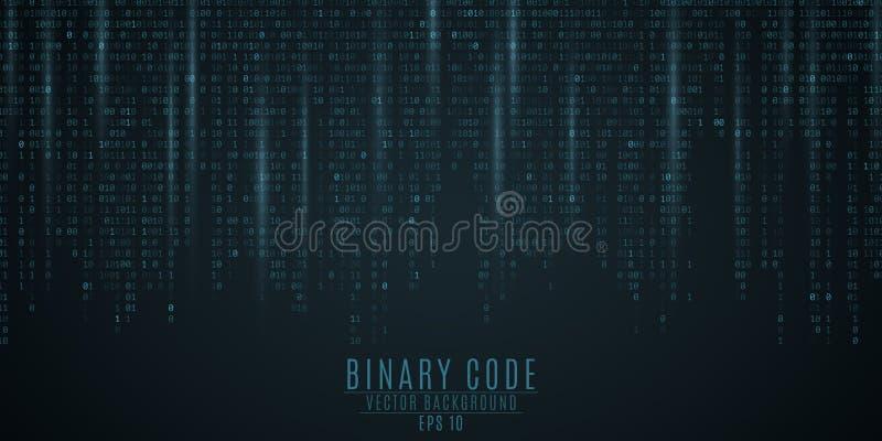kod binarny tło niebieski blask Spada postacie Zamazywać postacie w ruchu globalna sieć Wysokie technologie, programowanie, ilustracja wektor
