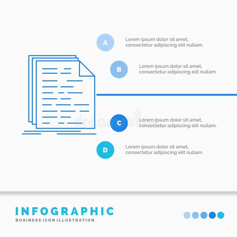 Kod, cyfrowanie, doc, programowanie, pisma Infographics szablon dla strony internetowej i prezentacja, Kreskowej B??kitnej ikony  ilustracji