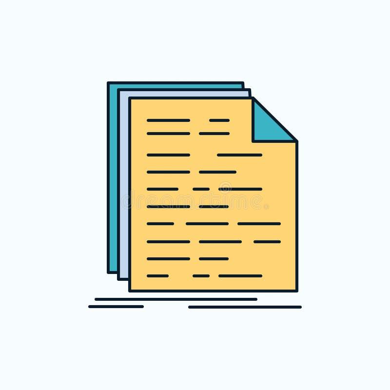 Kod, cyfrowanie, doc, programowanie, pisma mieszkania ikona zieleń, kolorów żółtych symbole dla i znak strony internetowej i wisz ilustracja wektor