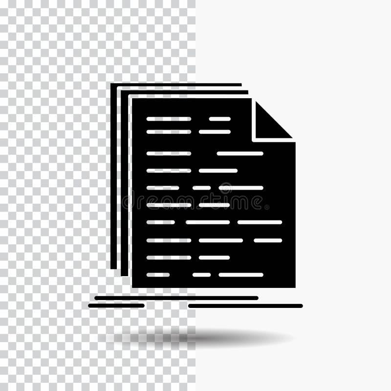 Kod, cyfrowanie, doc, programowanie, pismo glifu ikona na Przejrzystym tle Czarna ikona royalty ilustracja