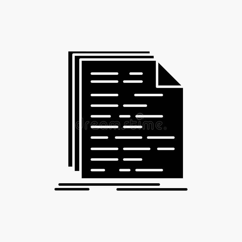 Kod, cyfrowanie, doc, programowanie, pismo glifu ikona Wektor odosobniona ilustracja ilustracji