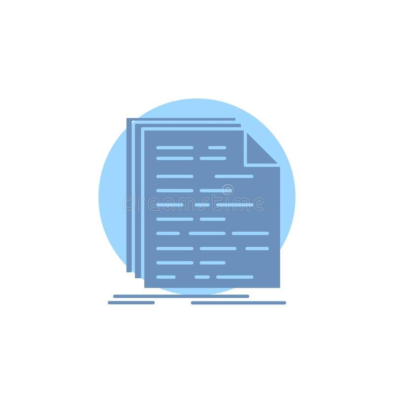 Kod, cyfrowanie, doc, programowanie, pismo glifu ikona ilustracja wektor
