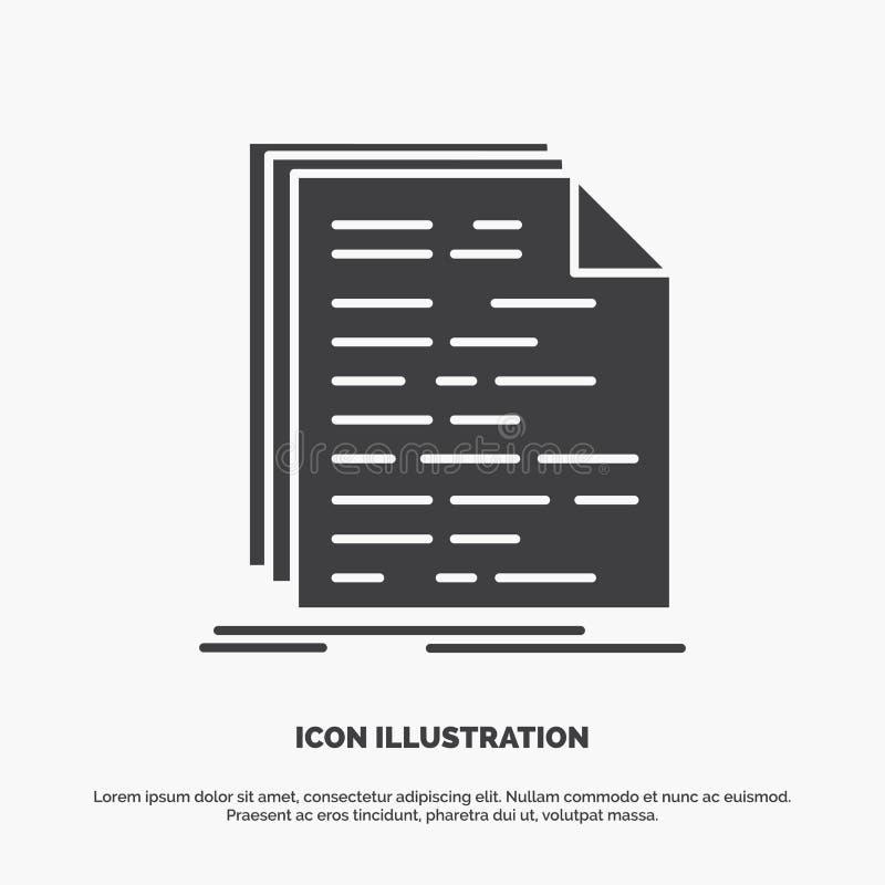 Kod, cyfrowanie, doc, programowanie, pismo ikona glifu wektorowy szary symbol dla UI, UX, strona internetowa i wisz?cej ozdoby za ilustracja wektor