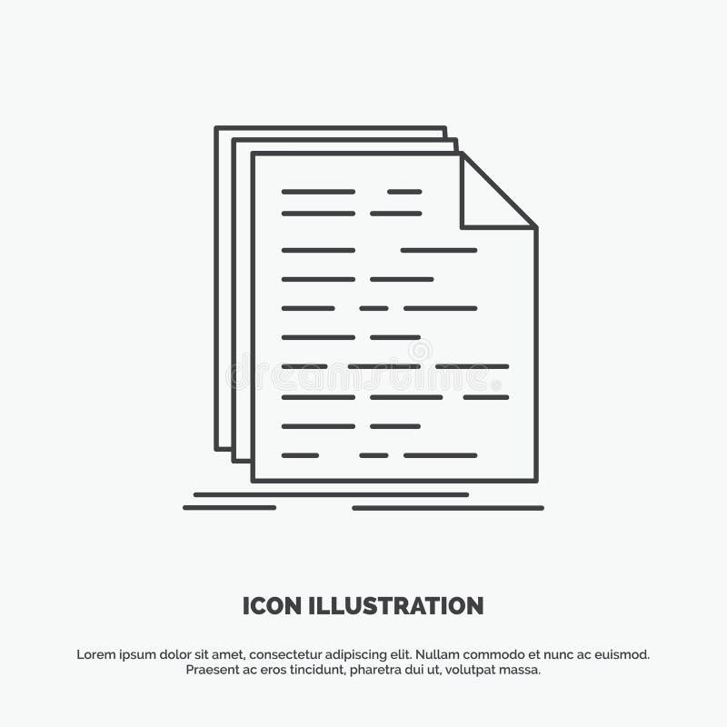 Kod, cyfrowanie, doc, programowanie, pismo ikona Kreskowy wektorowy szary symbol dla UI, UX, strona internetowa i wisz?cej ozdoby royalty ilustracja