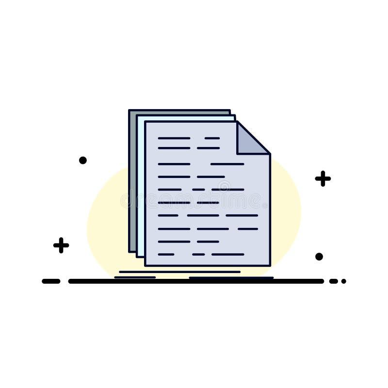 Kod, cyfrowanie, doc, programowanie, pismo koloru ikony Płaski wektor ilustracji