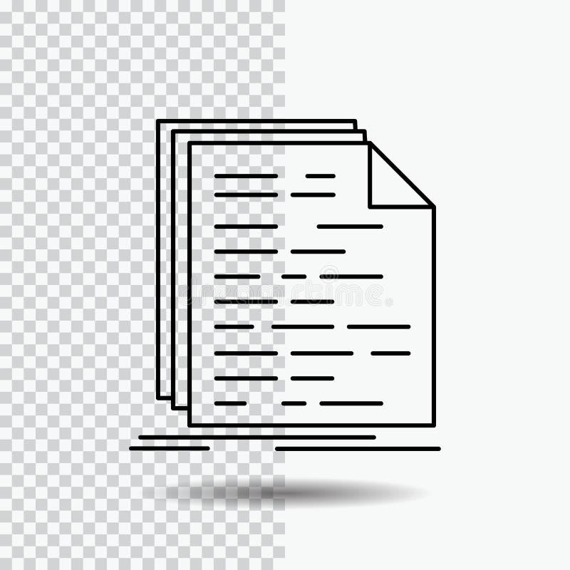 Kod, cyfrowanie, doc, programowanie, pismo Kreskowa ikona na Przejrzystym tle Czarna ikona wektoru ilustracja royalty ilustracja