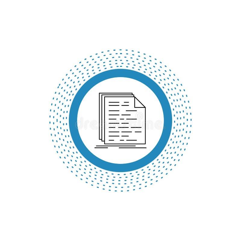 Kod, cyfrowanie, doc, programowanie, pismo Kreskowa ikona Wektor odosobniona ilustracja ilustracji