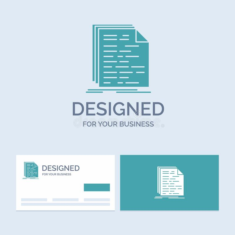 Kod, cyfrowanie, doc, programowanie, pismo logo glifu ikony Biznesowy symbol dla twój biznesu Turkusowe wizyt?wki z gatunku logo royalty ilustracja