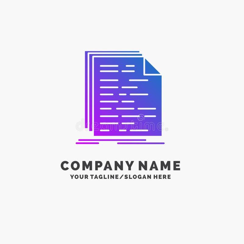 Kod, cyfrowanie, doc, programowanie, pismo logo Purpurowy Biznesowy szablon Miejsce dla Tagline ilustracja wektor