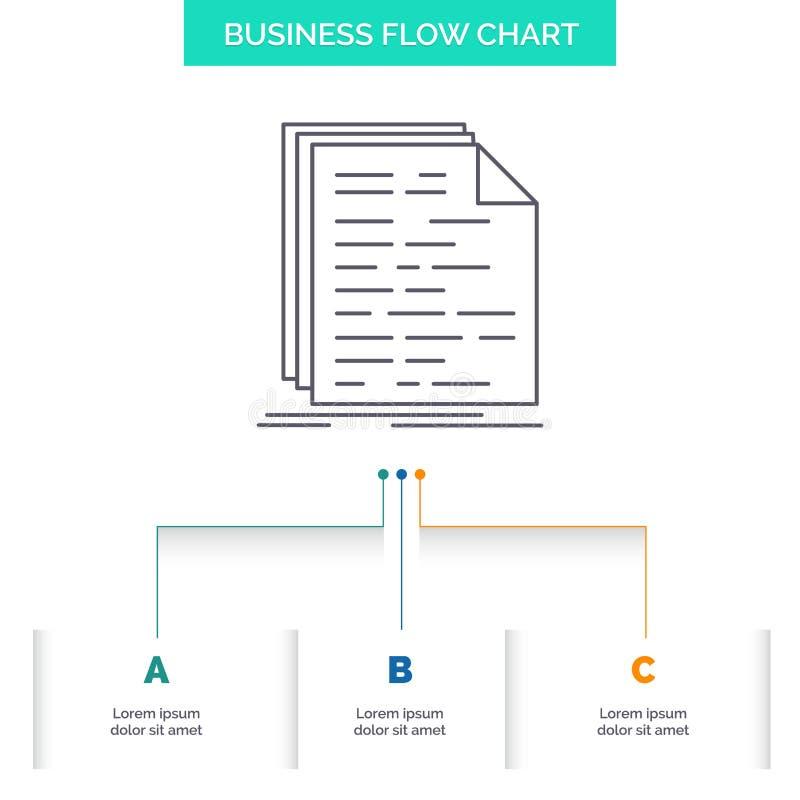 Kod, cyfrowanie, doc, programowanie, pismo Spływowej mapy Biznesowy projekt z 3 krokami Kreskowa ikona Dla prezentacji t?a szablo ilustracji