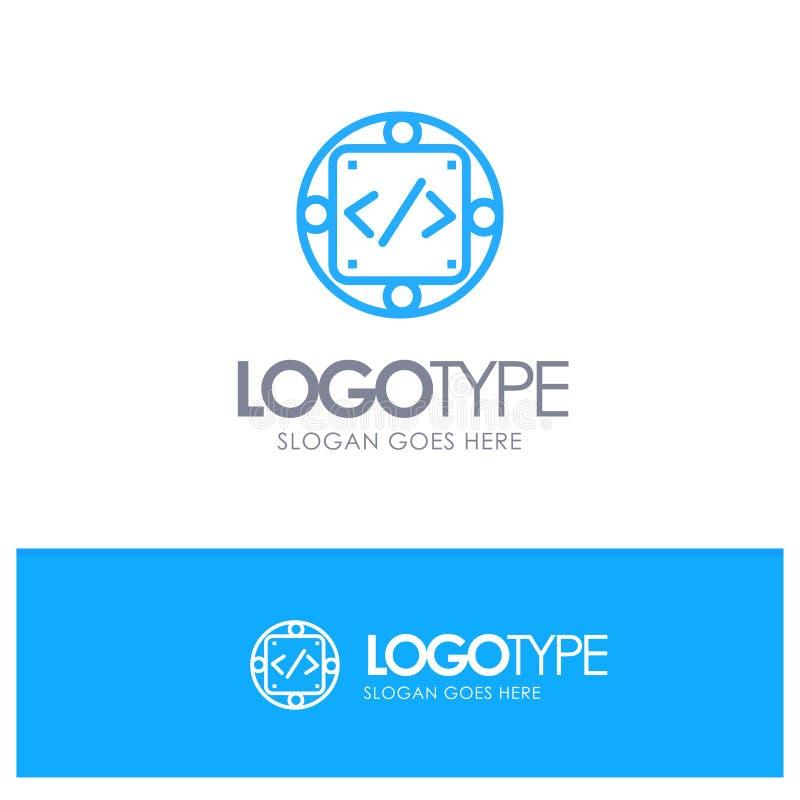 Kod egen, genomförande, ledning, blå översiktslogo för produkt med stället för tagline royaltyfri illustrationer