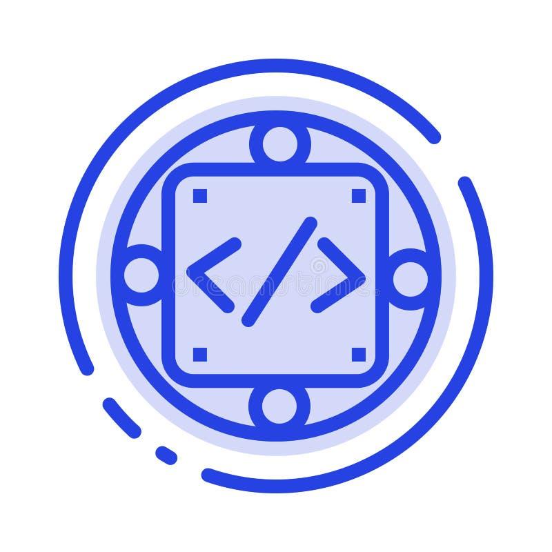 Kod egen, genomförande, ledning, blå prickig linje linje symbol för produkt royaltyfri illustrationer