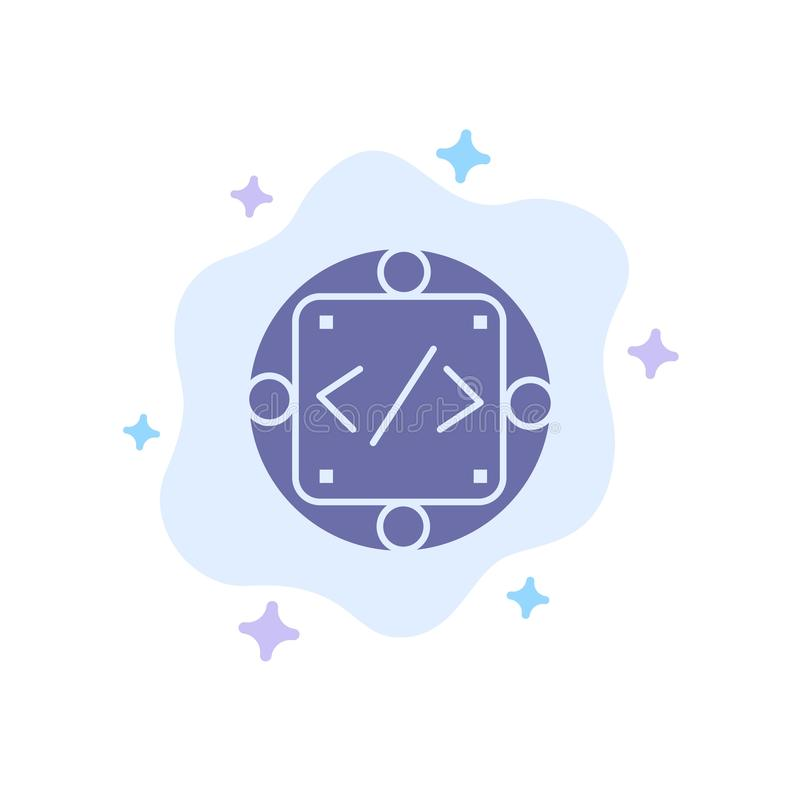 Kod egen, genomförande, ledning, blå symbol för produkt på abstrakt molnbakgrund vektor illustrationer