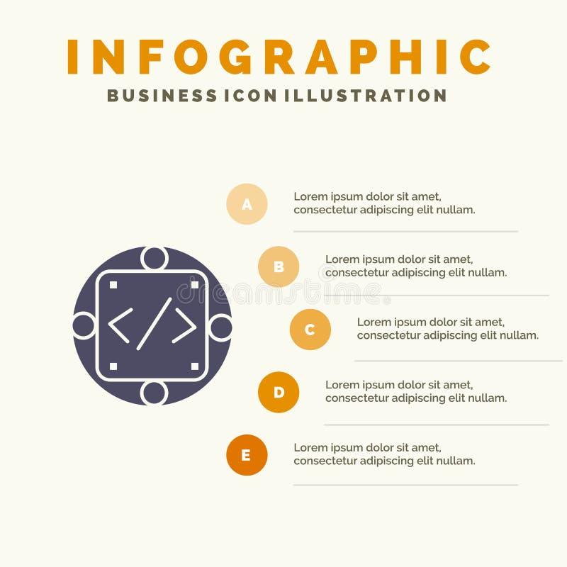 Kod egen, genomförande, ledning, för symbolsInfographics 5 för produkt fast bakgrund för presentation moment royaltyfri illustrationer