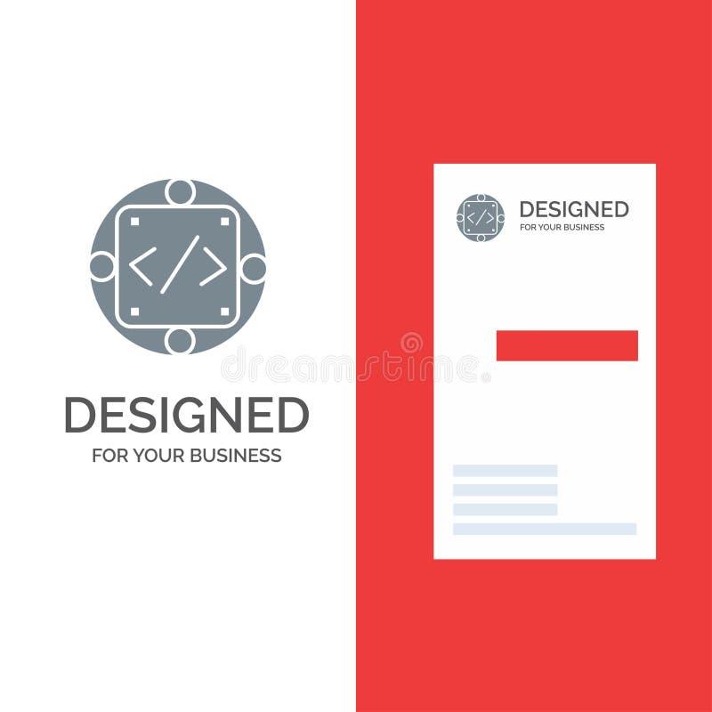 Kod, egen, genomförande, ledning, produkt Grey Logo Design och mall för affärskort vektor illustrationer