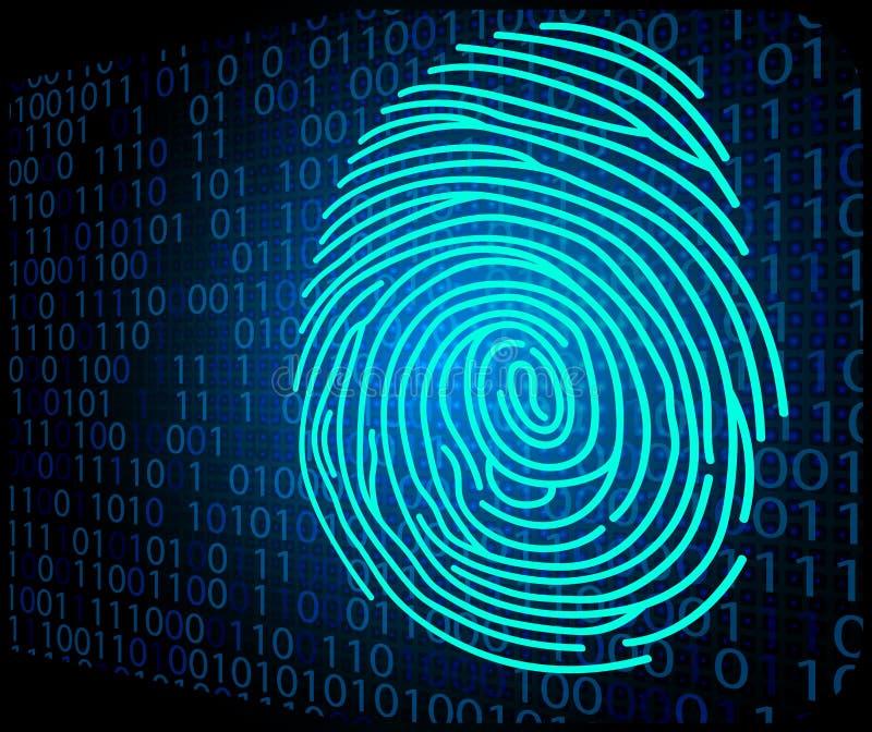 Kod för bakgrund för fingeravtryckscanningteknologi binär royaltyfri illustrationer