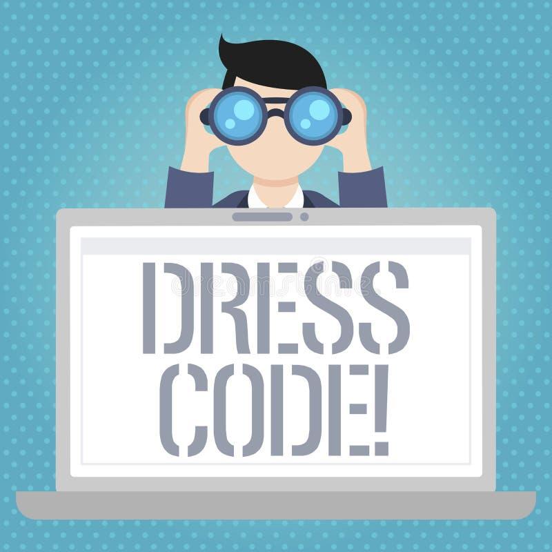 Kod för klänning för ordhandstiltext Affärsidé för regler av vad du kan bära och inte till skolan eller en händelse stock illustrationer