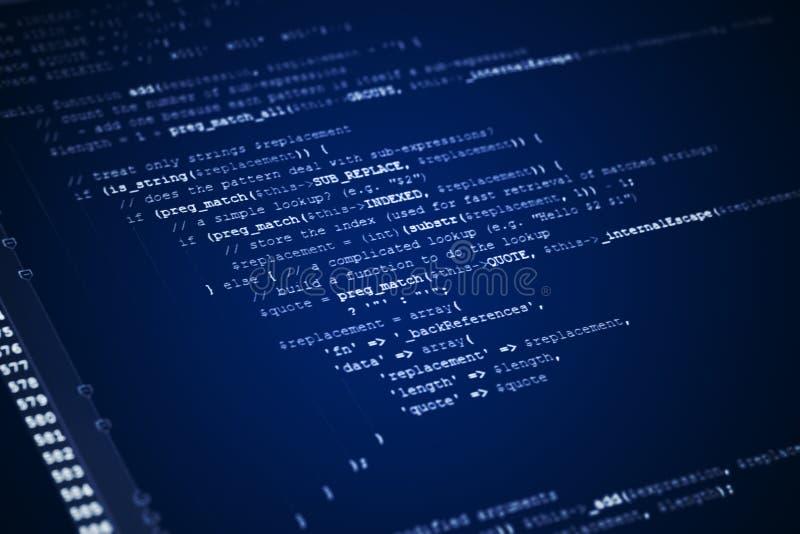 Kod för rengöringsduksidajavascript på datorbildskärm royaltyfri illustrationer