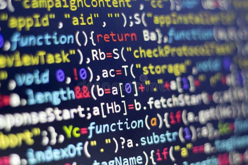 Kod för rengöringsdukutvecklingsjavascript HTML5 Modern bakgrund för abstrakt informationsteknik Nätverksdataintrång royaltyfria bilder