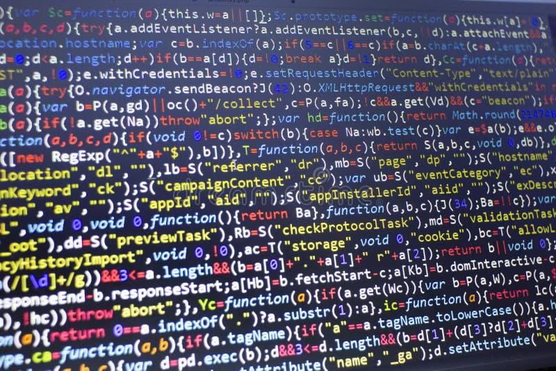 Kod för rengöringsdukutvecklingsjavascript HTML5 Modern bakgrund för abstrakt informationsteknik Nätverksdataintrång arkivfoton