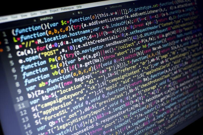 Kod för rengöringsdukutvecklingsjavascript HTML5 Modern bakgrund för abstrakt informationsteknik Nätverksdataintrång royaltyfria foton
