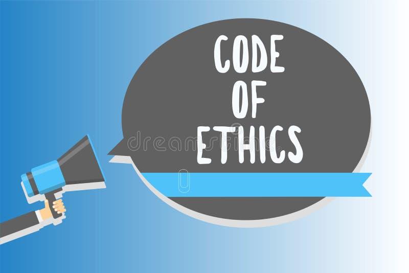 Kod för textteckenvisning av etik Den begreppsmässiga fotomoralen härskar den höga hållande megafonen för den etiska för fullstän vektor illustrationer