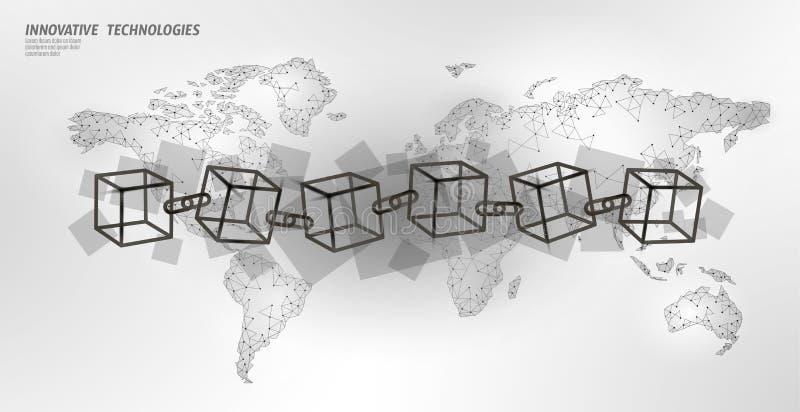 Kod f?r symbol f?r Blockchain kubkedja fyrkantig Internationellt fl?de f?r stora data Vit planetjordöversikt Cryptocurrency finan royaltyfri illustrationer
