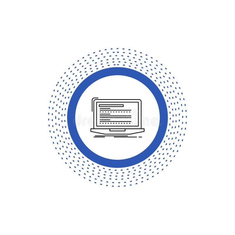 Kod som kodifierar, dator, monoblock, bärbar datorlinje symbol Vektor isolerad illustration royaltyfri illustrationer