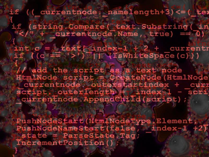 kodad designfractalen som programmerar röd källa vektor illustrationer