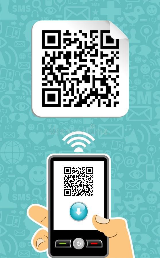 kodad mobil telefonqr för avkodaren stock illustrationer